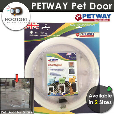[2 Sizes] PETWAY 4 Way Lock Glass Pet Dog Cat Door - Glass Doors Panels Puppy AU