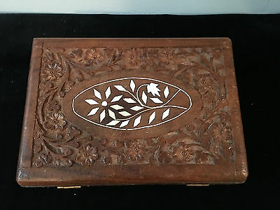Vintage Asian Carved  Wood  Box With Inlay