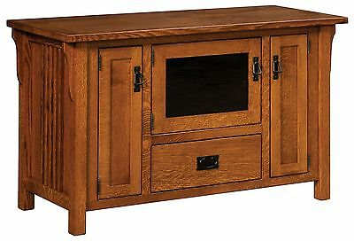 Amish Camden Solid Wood Mission TV Stand Media Cabinet Doors Drawers