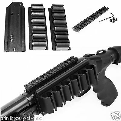 Mossberg 500 590 Side Saddle Shell Carrier Holders 6 Round W/Scope Mount Kit.