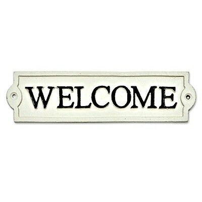 Welcome Sign Off White Cast Iron Metal Outdoor Door Garden Fence Plaque New