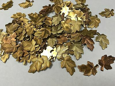 Copper plated leaf shape solid metal pieces lot of 40