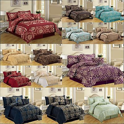 Bedspread 7 Piece (PCS) Jacquard Bedspread Quilted Bed Spread Comforter Set Size