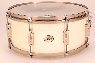 VINTAGE Ludwig 6x14 One-Piece Maple 1930s Snare (White) * SHIPS WORLDWIDE