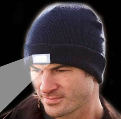5-LED Beanie Lighted Cap Winter Warm Black Flahlight Style Hunting Camping Hat