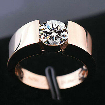 Austria Crystal Women Cubic Zircon Rose Gold/White Plated Wedding Jewelry Ring