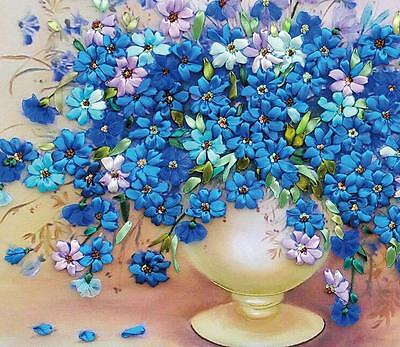 Ribbon Embroidery Kit Vase and Blooming Blue Flowers Needlework Craft Kit RE2001