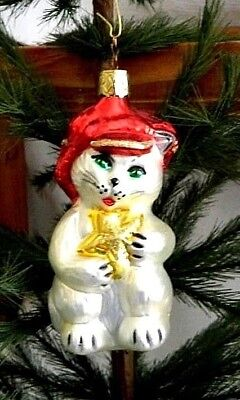 Old World Christmas-Inge-Glas-Cat in a Red Hat~Blown Glass Ornament-West Germany