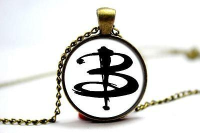 """Buffy The Vampire Slayer Glass Domed """"B"""" Pendant Necklace"""