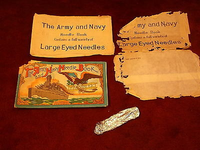 """Rare, Very Old Vtg Antique Sewing Machine Needles Pack """"the Army & Navy Book"""""""