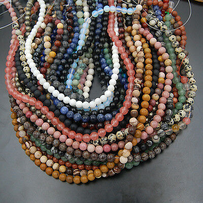 """6mm Wholesale Lot Natural Gemstone Round Spacer Loose Beads 15.5"""" Free shipping"""
