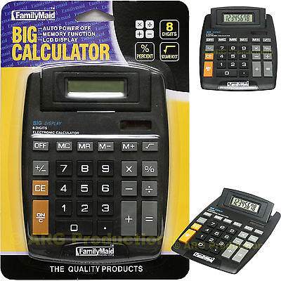 Large Jumbo Calculator Big Button 8 Digits Display Solar Battery New Sealed!