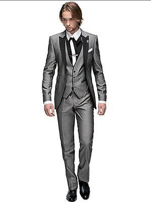 Peak Lapel Best Man Suit Grey Groomsman Men's Wedding/Prom Suits Groom Tuxedos