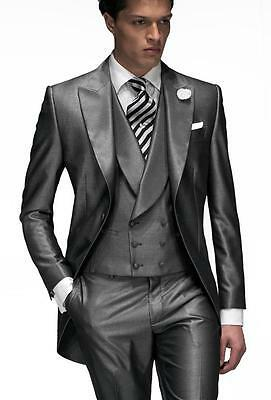 Peak Lapel Best Man Suit Shiny Grey Groomsman Men's Wedding/Prom 3 Piece Suits