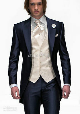 New Dark blue dress with lapel wedding the groom,holds the men suit of the groom