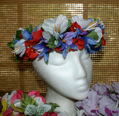 Hawaiian Lei Poʻo ~ Hibiscus with Blue Orchid