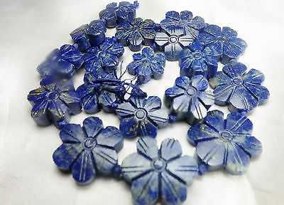 Lapiz Lazuli Natural Matte Finished Flowers Shaped Faceted LP14