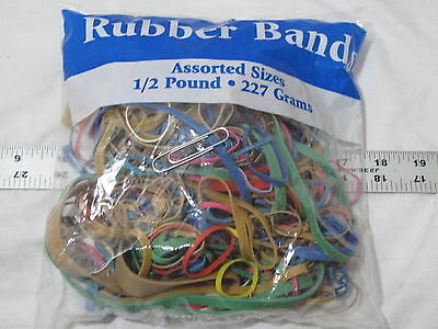 (1) NEW 8 oz bag Rubber Bands USA Color Office Home Large Small