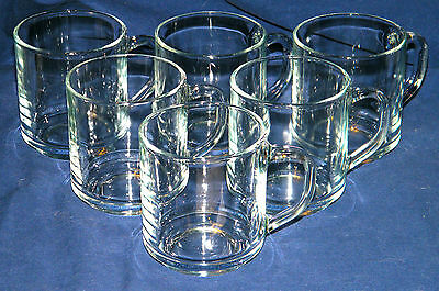 Vintage SET of (6) ARC Arcoroc Clear COFFEE CUPS~Made in France~Stackable~EX!!!