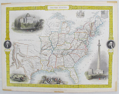1851 Hand Colored Map of the United States by John Tallis