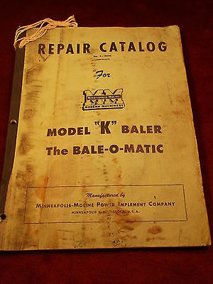 "Vtg 1949 Book ""repair Catalog #r-1048C, For Minneapolis-Moline Model 'k' Baler"""