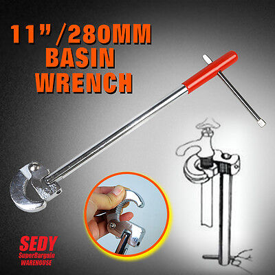 """11"""" 280mm Multi Purpose Adjustable Basin Wrench Plumbing Faucet Nuts Install NEW"""