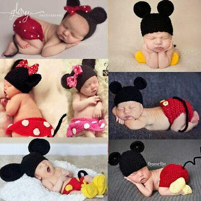 Mickey Minnie Handmade Newborn Baby Girl Boy Crochet Knit Costume Photo Prop
