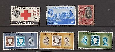 (OJ-32) 1920-60 Gambia 6mix 1½d to 2/6d