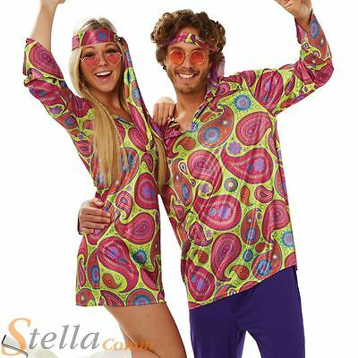 Mens Ladies 60s 70s Hippy Hippie Disco Outfit Fancy Dress Costume Outfit