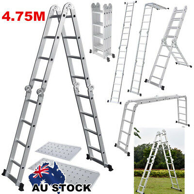 4.75M Outdoor Multi-function Adjustable Scaffold Folding Steps Ladder AU POST
