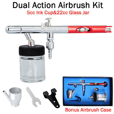 Voilamart 0.35mm Dual Action Airbrush Gun Kit Air Brush 2 Cups Spray Make Up Art