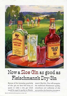FLEISCHMANN'S SLOE GIN - DRY GIN Ad - 1936 - Men Playing Golf - Golfers