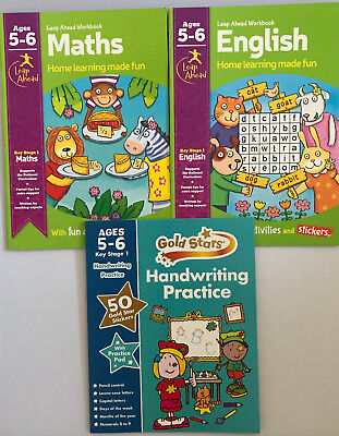 Leap ahead Maths and English Basics ages 5-6 + handwriting book 5+