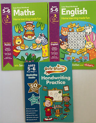 Leap ahead Maths and English ages 5-6 + handwriting book 5+