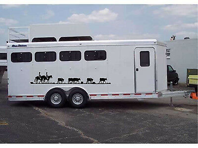 Horses & Cattle Border Horse Trailer Truck RV Camper Decal Stickers 10.5x70 (2)