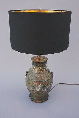 Antique Asian Style Cloisonne Table Lamp Vintage Light Beautiful Design (8856)