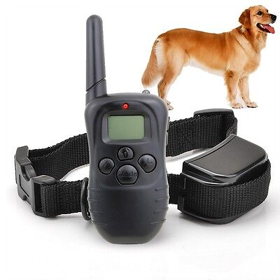 300M 100LV LCD Remote Pet Dog Electric Shock Vibration Training Collar Anti-Bark