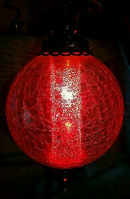 Vintage Crackled Glass Hanging Swag Ceiling Light Lamp Ball w/ Diffuser - ORNATE