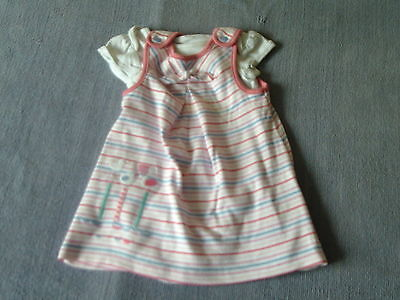 Baby Girls 3-6 Months - Pink, Blue & White Striped Dress & Top - M&S