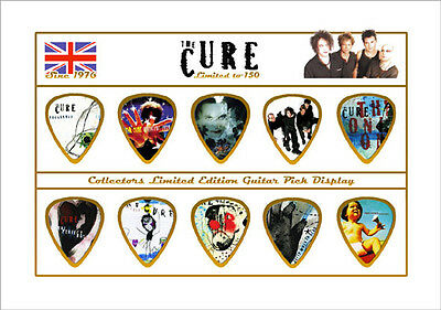 The Cure (4) guitar picks on photo display LIMITED !