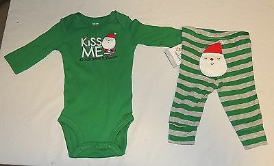New Baby Carters First Christmas Outfit Kiss Me No Mistletoe Sizes Newborn -3 M