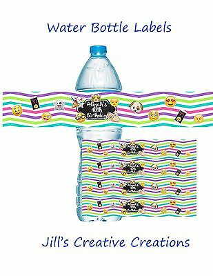Emoji Water Bottle Labels, Water Bottle Labels, Birthday, Emoji
