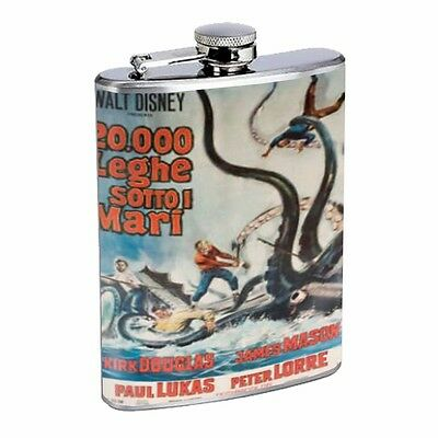 20,000 Leagues Under The Sea Flask D110 8oz Stainless Fighting Giant Squid
