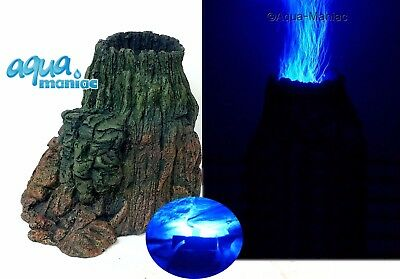 Aquarium Volcano with illuminated BLUE bubbles with Air Pump - Set For Fish Tank