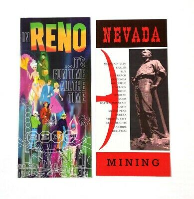 Vintage RENO NEVADA 4 Brochures Map History Mines Facts Casinos Ghost Towns Gold