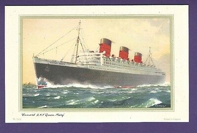 1961 RMS Queen Mary Color Cardstock Abstract Log  - Cunard Line