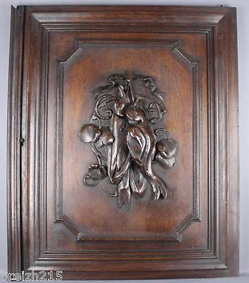 Antique French Carved Wood  Architectural Panel door hunting scene fish