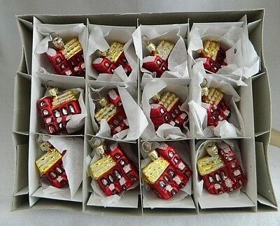 12 NEW-Small Red Snowy Church-Feather tree Glass Gift/Craft Ornaments-Poland