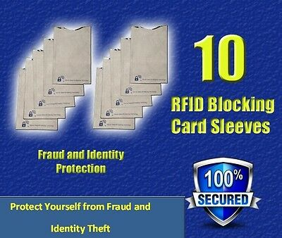 RFID Blocking Credit Card and ID Protector Sleeves (x10) - Free Shipping!