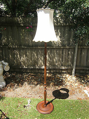 Vintage Mid Century Retro Timber Standard Floor Lamp With Scalloped  Shade